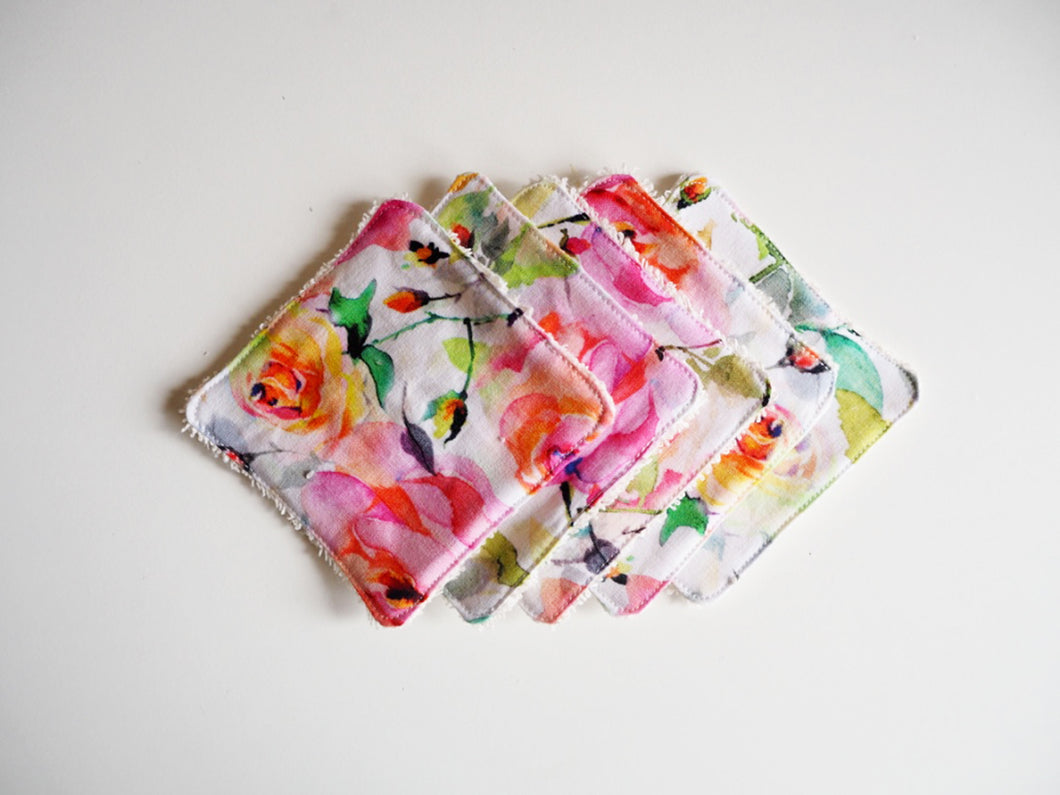 rose print cotton washable makeup pads