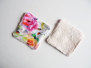 Pastel Rose Print Washable Cotton Pads