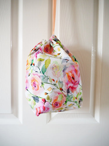 Pastel Rose Print Drawstring Cotton Laundry Bag