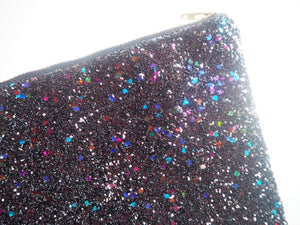 black rainbow glitter money purse