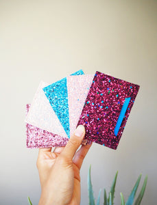 Blue Glitter Card Holder
