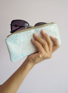 white glitter sunglasses case