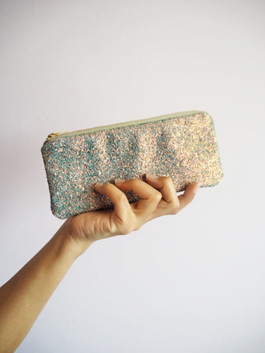 grey glitter sunglasses case