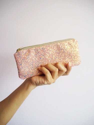 pink glitter sunglasses case