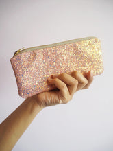 bubblegum pink glitter glasses case
