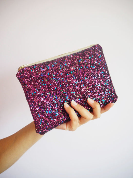 Berry Glitter Makeup Bag