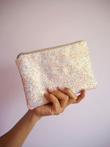 sparkly pink makeup pouch