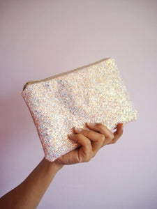 iridescent glitter pouch in pink