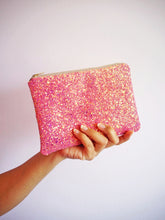 sparkly pink makeup bag