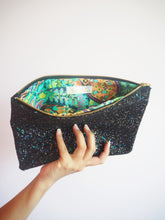 Black Rainbow Glitter Clutch Bag
