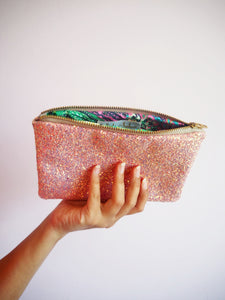 Bubblegum Pink Glitter Makeup Bag