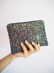 black iridescent glitter makeup bag