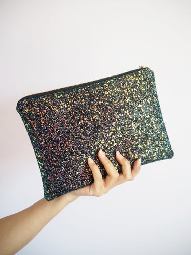 Midnight Glow Iridescent Glitter Clutch Bag