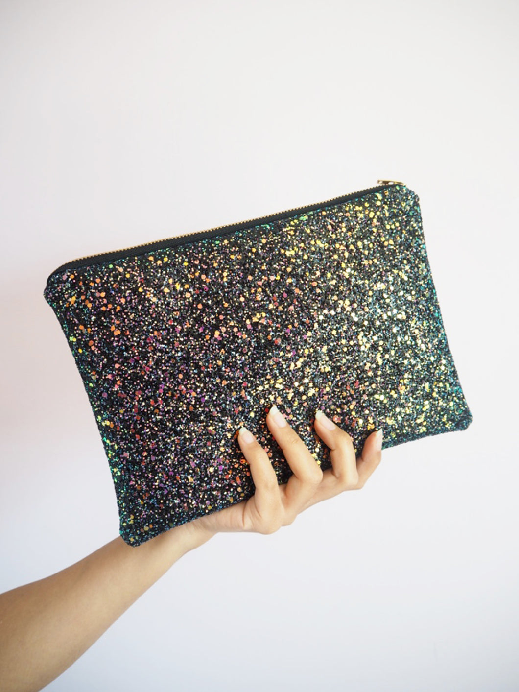black iridescent glitter clutch bag
