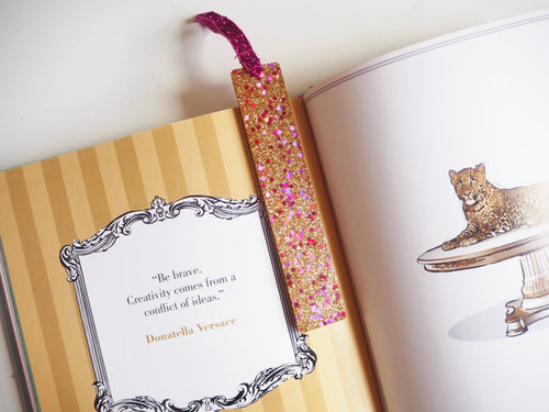 Sparkly Gold & Pink Bookmark