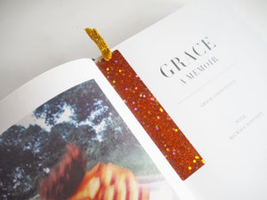 sparkly orange bookmark