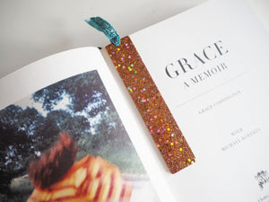 Holographic Rose Gold Glitter Bookmark