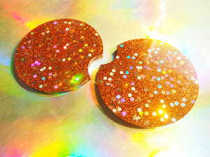 Rust Orange Glitter Car Coasters - 6.5cm