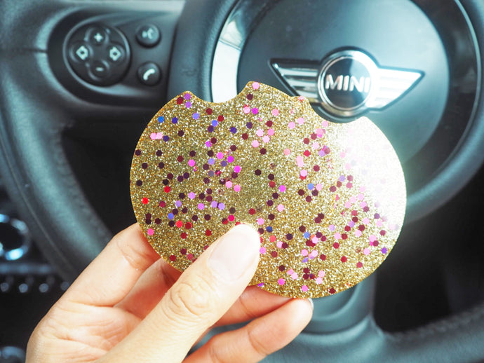 Gold & Pink Glitter Car Coasters - 7.3cm