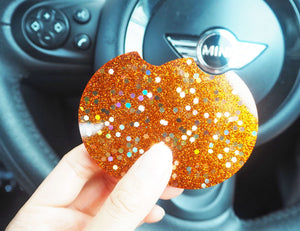 orange glitter car coasters