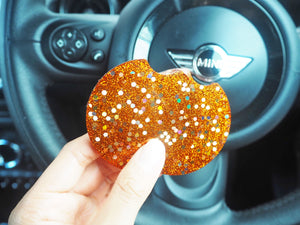 rust orange glitter car coaster
