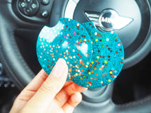 sparkly blue car coasters