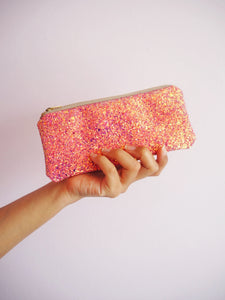 pink & rose gold glitter glasses case