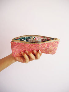 pink glitter glasses pouch