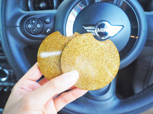 Gold Rainbow Glitter Car Coasters - 7.3cm