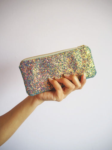 glitter sunglasses case in purple rainbow
