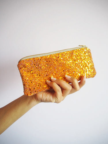 burnt orange glitter sunglasses case