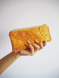 glitter sunglasses case in burnt orange