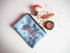 custom velvet makeup bag