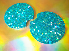 Turquoise Rainbow Glitter Cup Holder Inserts - 7.3cm