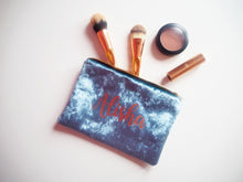 personalised blue makeup bag