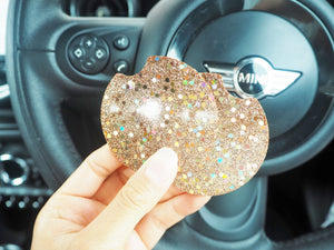 Rose Gold Holographic Glitter Car Coasters - 6.5cm