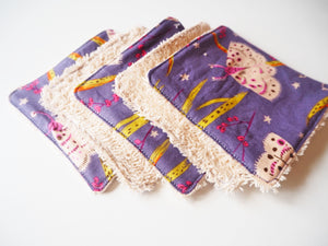 Purple Moth Print Reusable Makeup Wipes