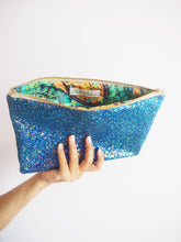 royal blue glitter evening bag