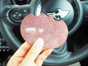 Rose Gold Glitter Car Coasters - 6.5cm