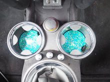 Turquoise Holographic Cup Holder Inserts - 7.3cm