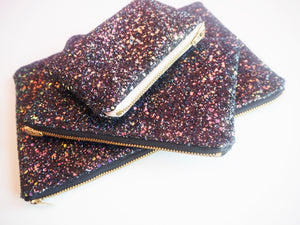black iridescent glitter bag