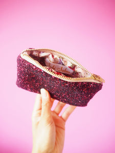 plum glitter money purse