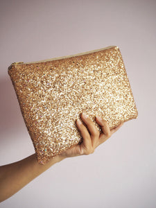 Gold Rainbow Glitter Clutch Bag