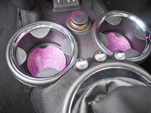 Pink Rainbow Glitter Car Coasters