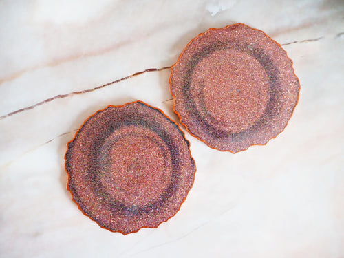 Metallic Grey & Rose Gold Geode Coaster Set