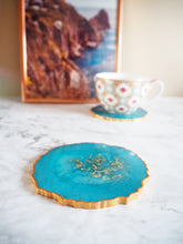 metallic blue geode coasters