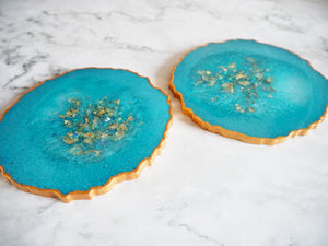 blue coasters with gold flakes