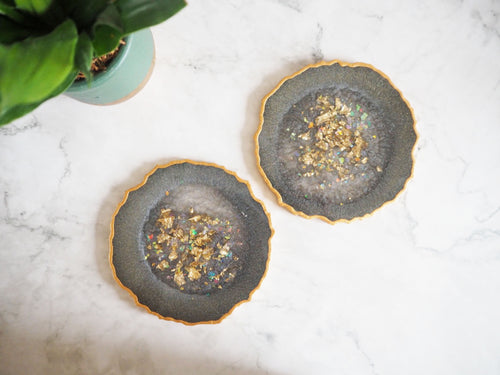 grey geode resin coasters
