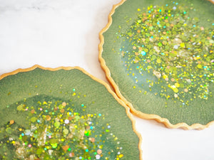 sparkly green resin coasters