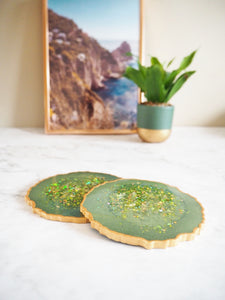 sparkly green geode coaster set